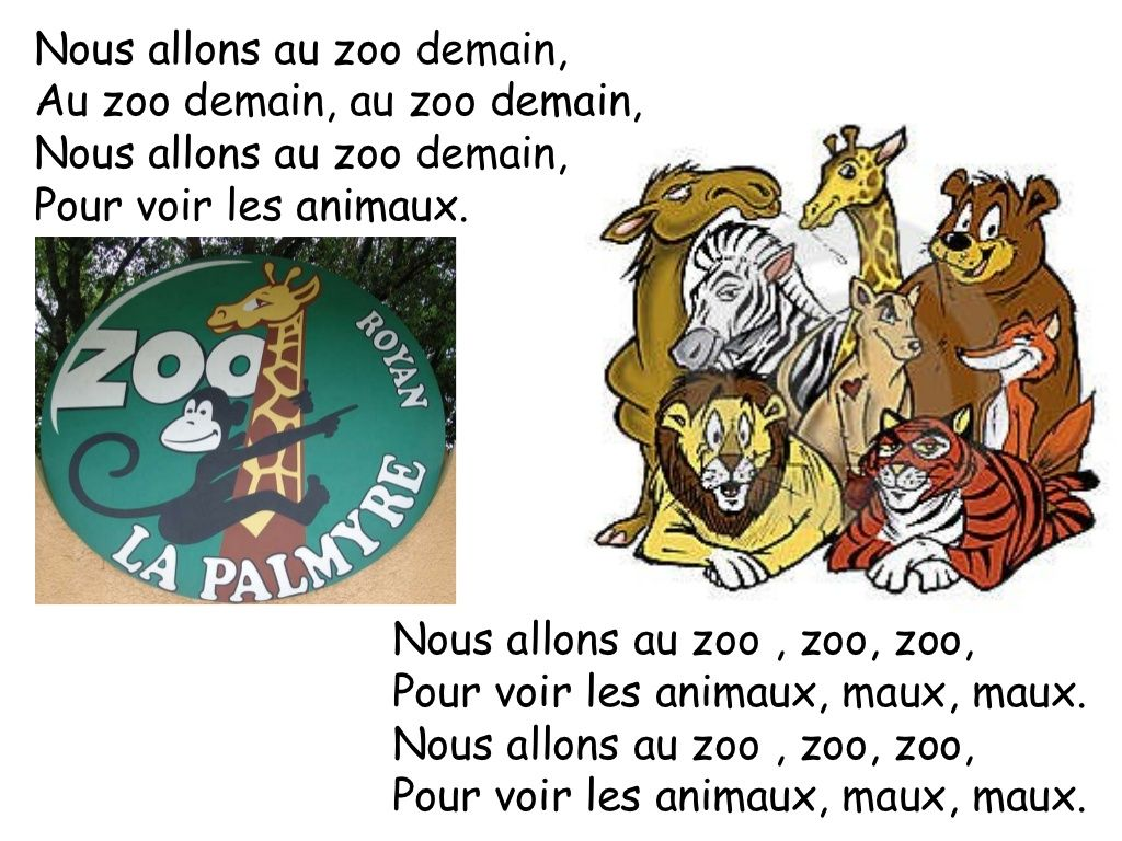 Nous allons au zoo song on slideshare