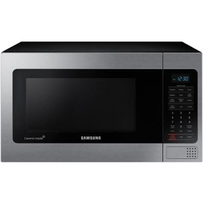 Samsung 1 1 Cu Ft Countertop Microwave With Grilling Element In