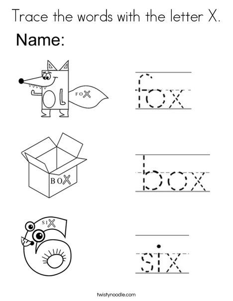 Trace The Words With Letter X Coloring Page