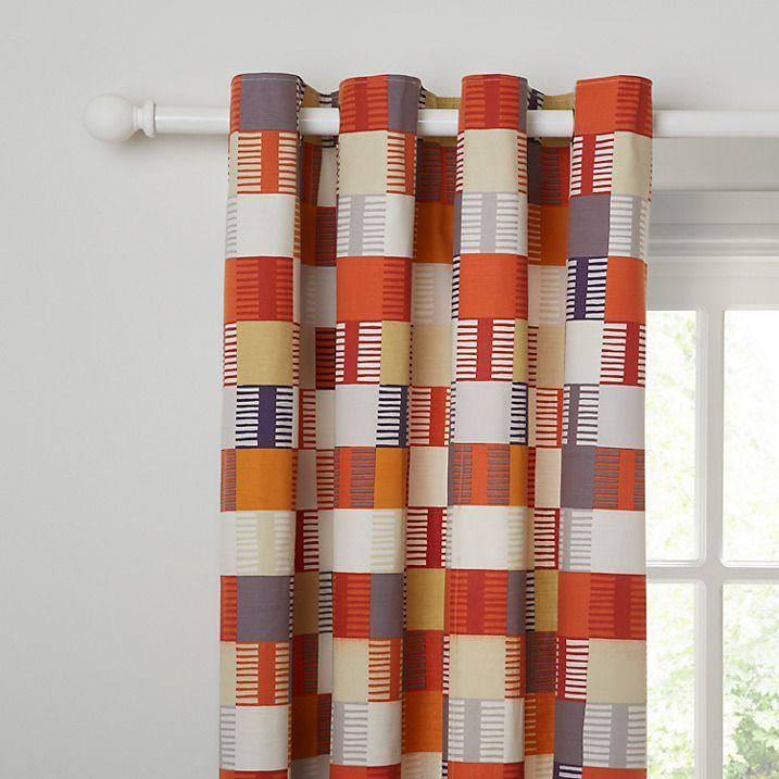 Buy Scion Navajo Lined Eyelet Curtains, Orange W167 X Drop