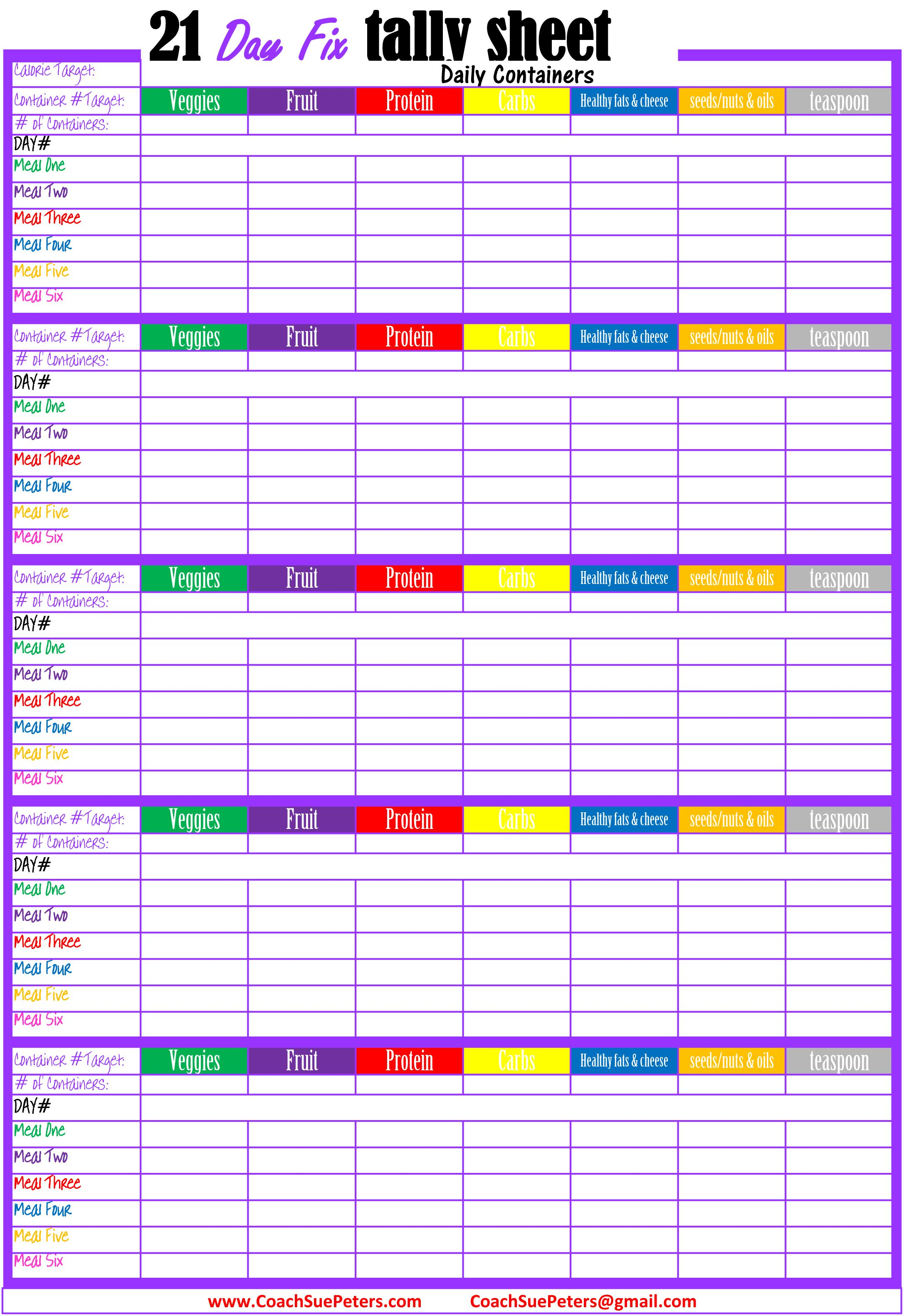 Revered image with 21 day fix tally sheets printable