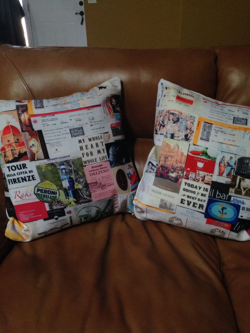 Honeymoon ticket stub collage pillows ❤ all the memories that ...