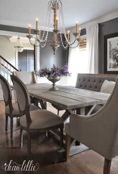 Pair Traditional Dining Chairs With A Rustic Table For A Shabby Chic Look.  Keep The