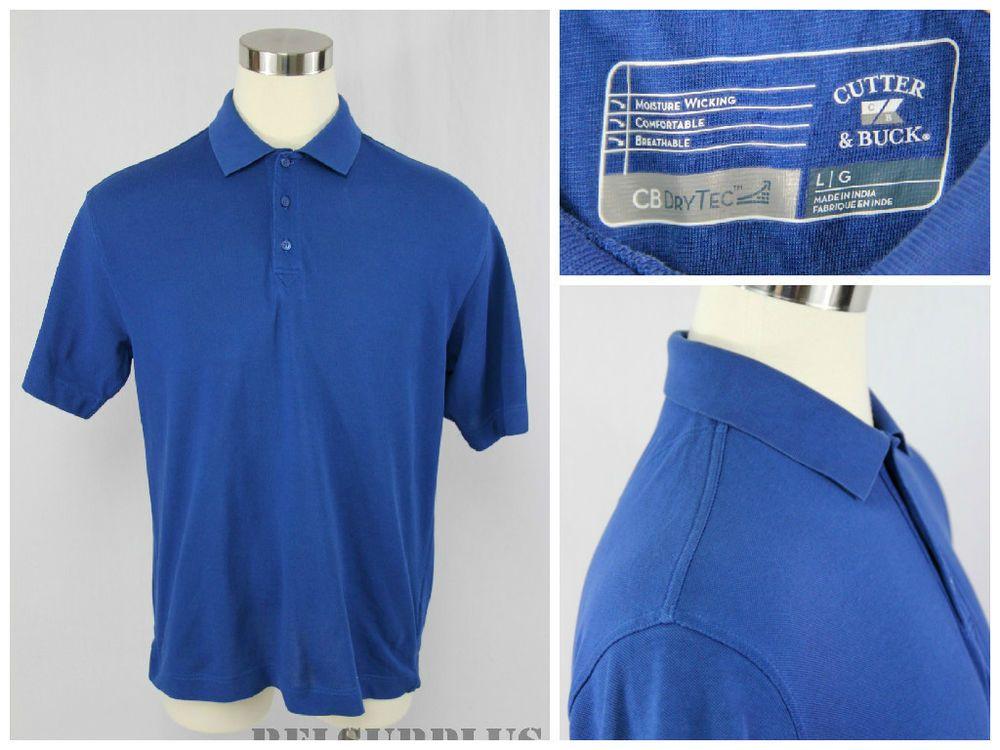 Cutter & Buck DryTec Men's Size Large Blue Short Sleeve Polo Rugby Golf Shirt #CutterBuck #PoloRugby
