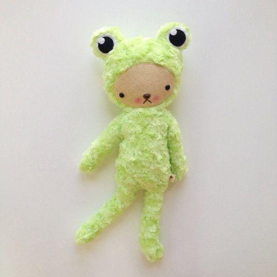 Kawaii Frog Teddy Bear Stuffed Animal in Light Green by bijoukitty