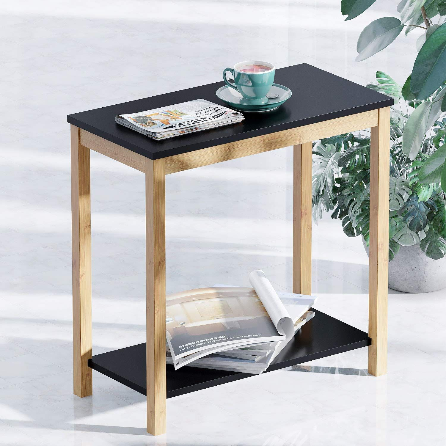 2 Tier Side Table With Storage Shelf Modern Furniture For Living Room Bedroom Balcony Family Living Room Shelves Storage Furniture Bedroom Side Table End table vs side table