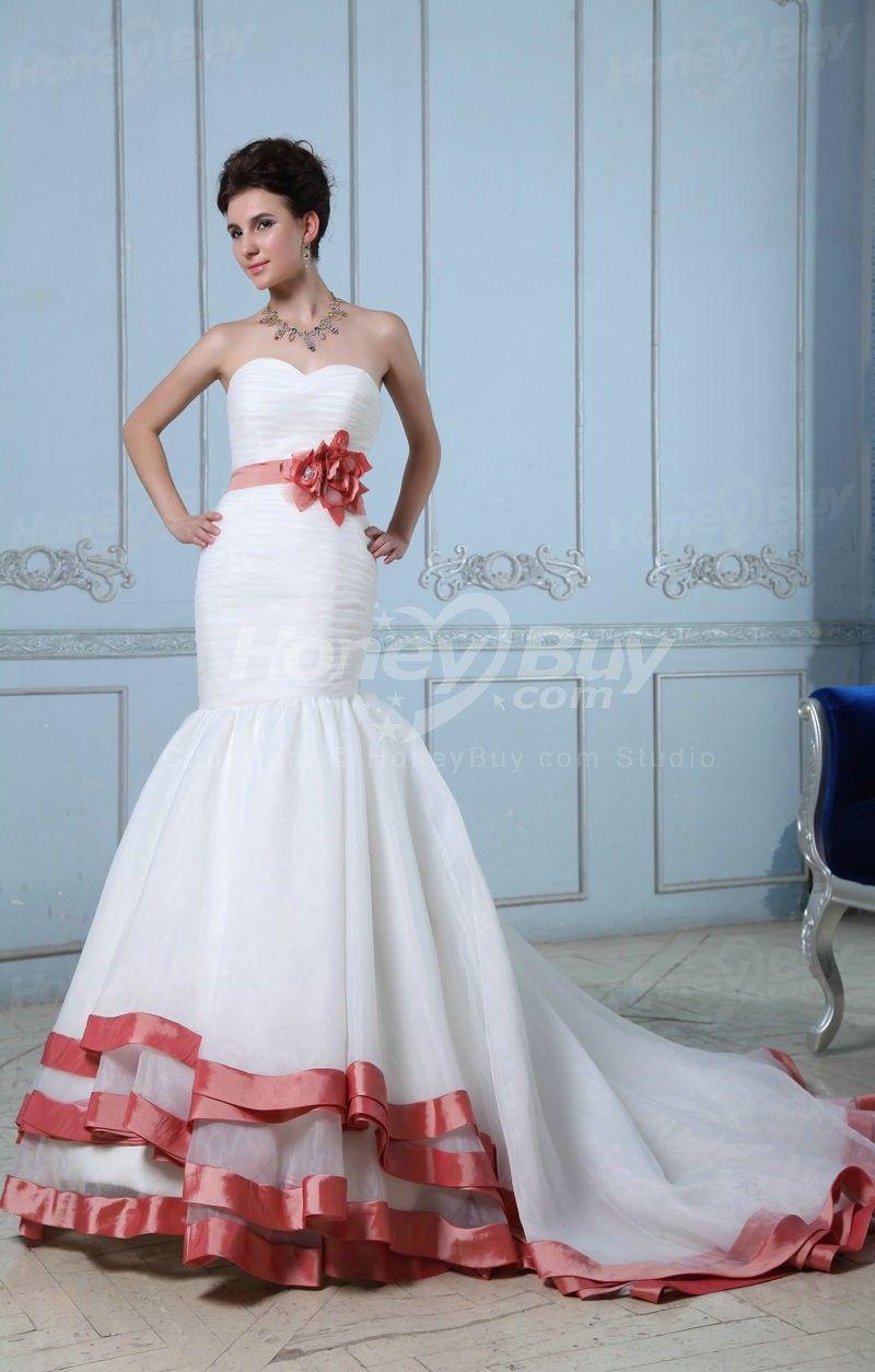 Unique Wedding Dresses With Color   Mermaid Sweetheart Unique ...