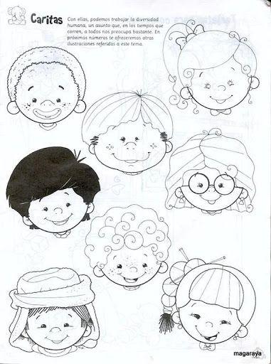 Coloring pages with kids faces // Caras de niños para colorear ...