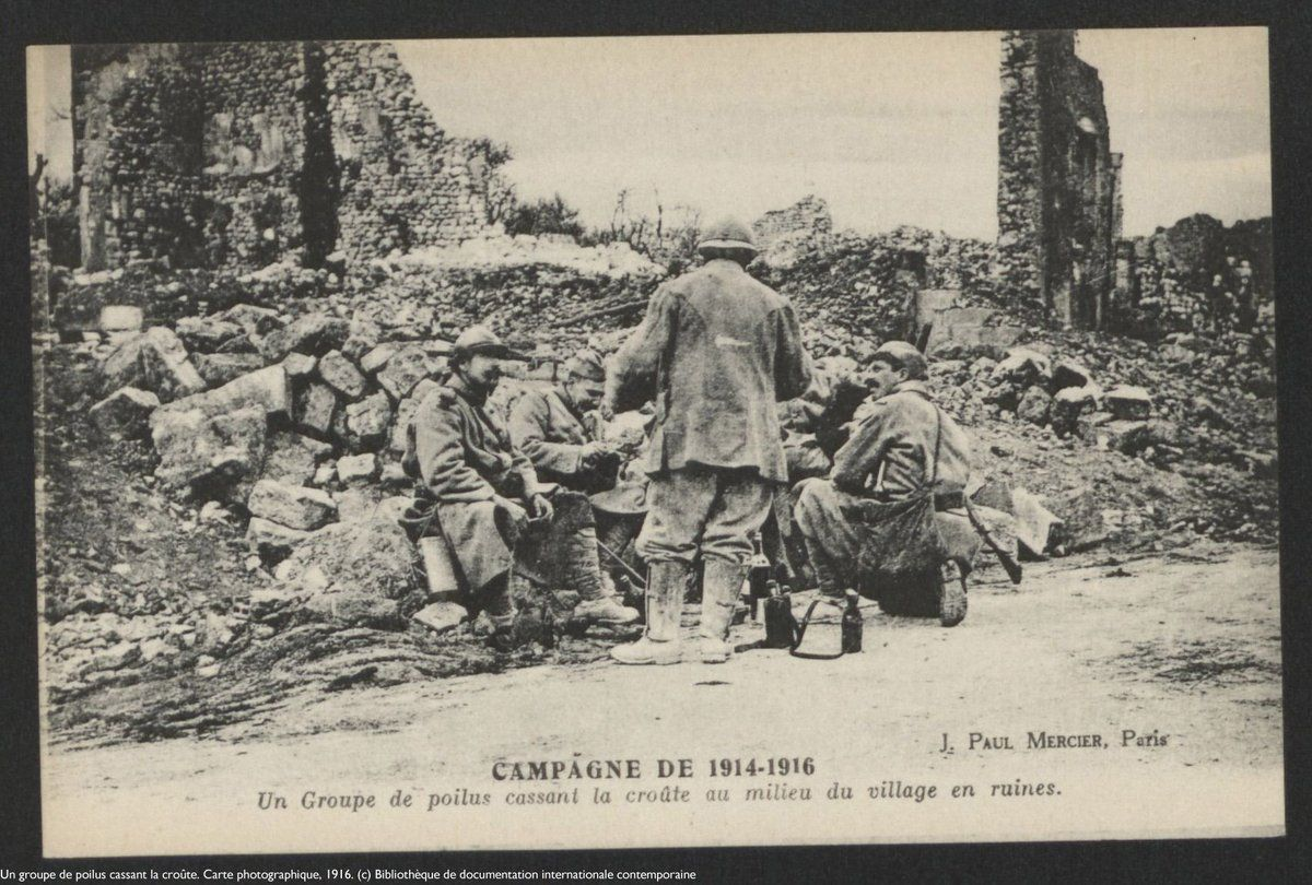 Ww1 1914 16 A Group Of Poilus In A Ruined Village Michael Bourlet World War One World War World War I