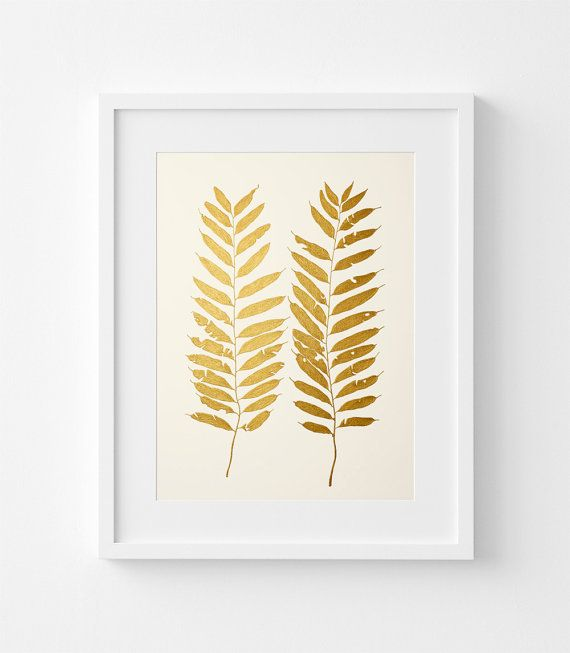 Original Gold Painting of Fern Leaf – Acrylic Painting – Handmade in ...
