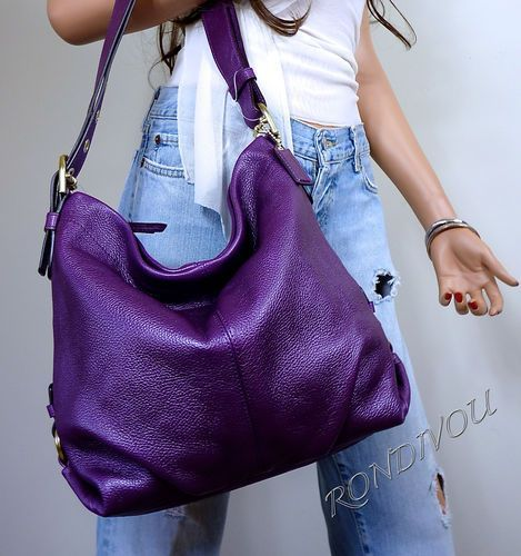 Nwt gorgeous coach purple grape leather shoulder crossbody hobo ...