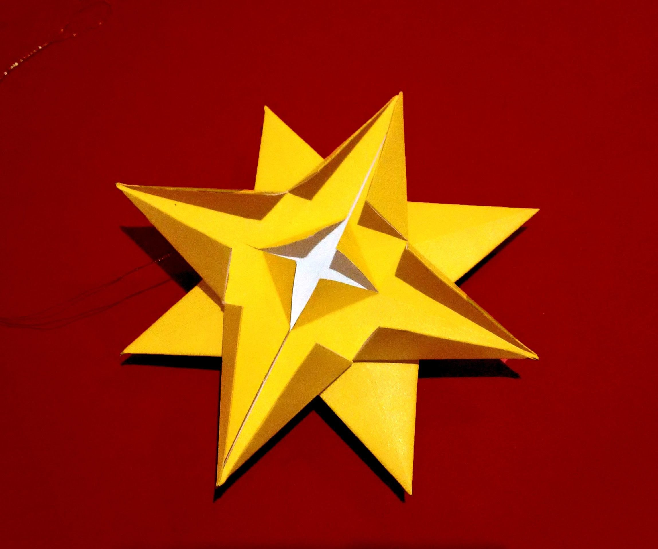 Easy 3d paper Star - ornament. House decor. DIY STAR for table and ...
