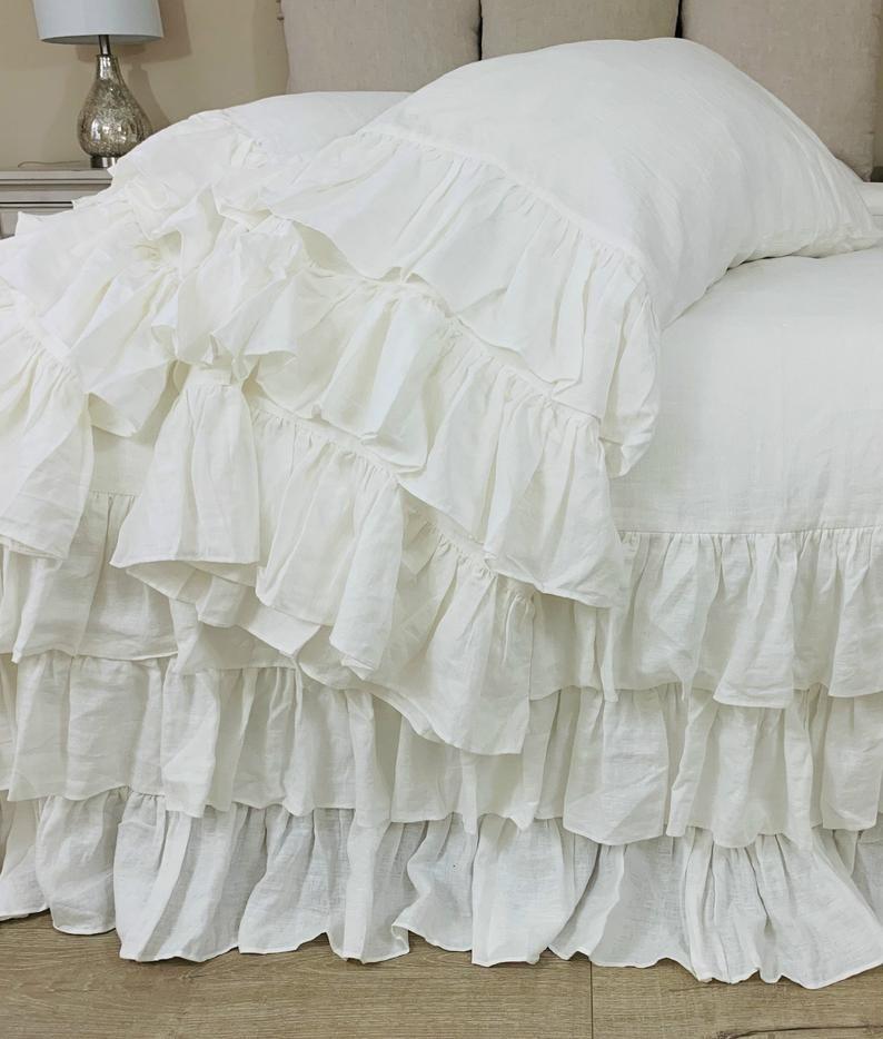 Natural Linen Duvet Cover With Three Tiered Ruffles Waterfall Ruffles 80 Colors Ruffle Duvet Cover Ruffle Duvet Linen Duvet