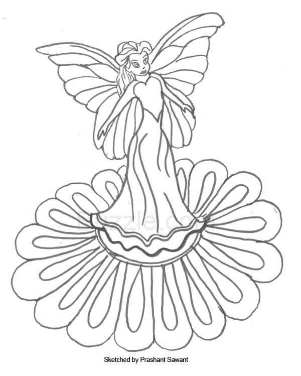 coloring page of fairy