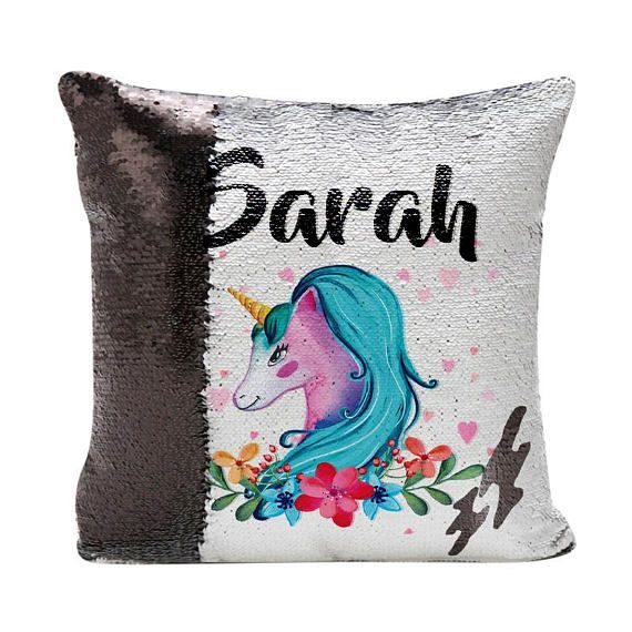 Unicorn Pillow Reversible Sequins Cushion Cover Unicorn Mermaid
