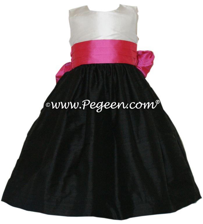 Pink And Fuschia Black Flower Girl Dresses Flowergirl Dresses