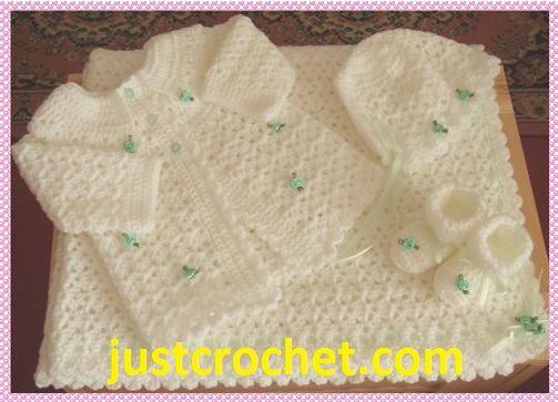 Crochet Layette Girl Free Pattern | Four Piece Layette Baby Crochet ...