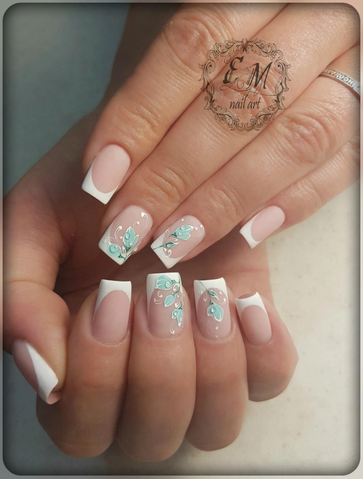Nageldesign french weiß muster | french nails | Pinterest | French nails