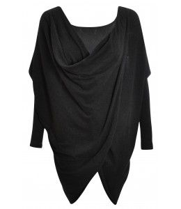 Christy Charcoal Wrap Over Cowl Neck Top