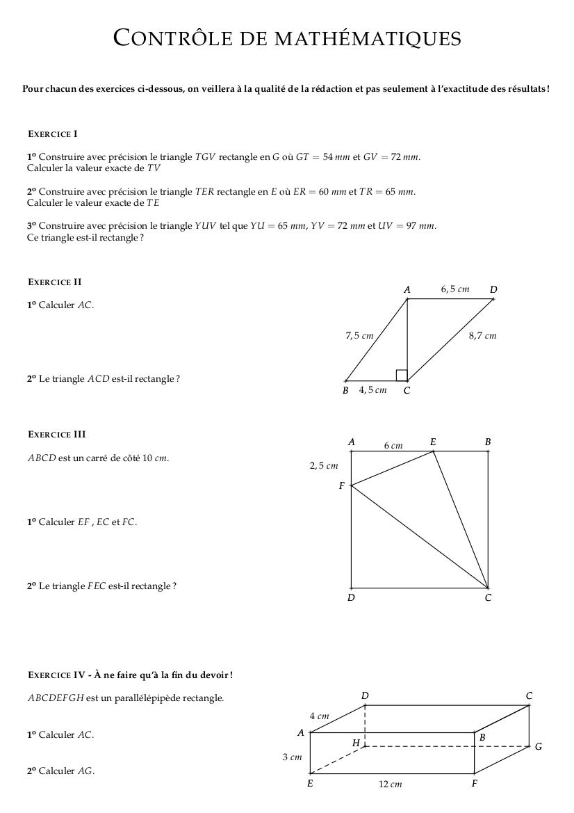 Contrôle corrigé de mathématiques quatrième : Pythagore