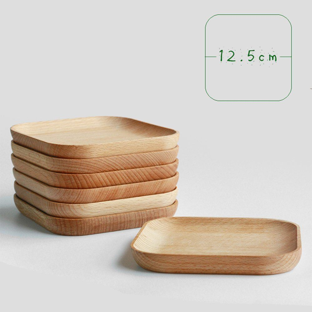 Amazon.com | XDOBO Natural Beech Wood Serving Dishes - Handmade Mini Dessert Plates - Safe and Eco-friendly - Pack of (4): Dessert Plates