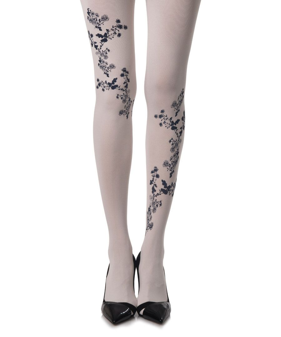 Look at this Cream & Black Japanese Flower Tights on #zulily today!