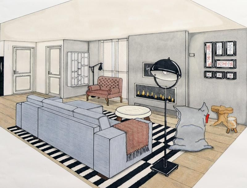 Interieur tekening 3d interior sketches pinterest for 3d meubels tekenen
