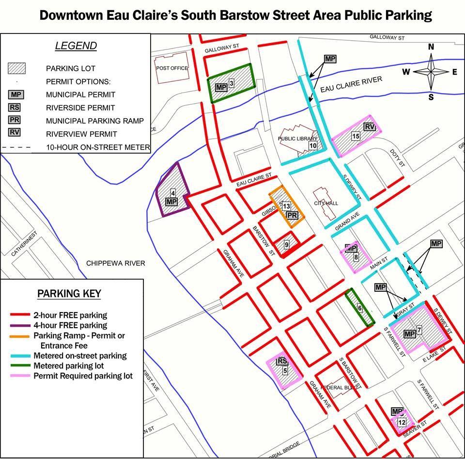 Downtown Eau Claire Wisconsin Post Construction Parking Map