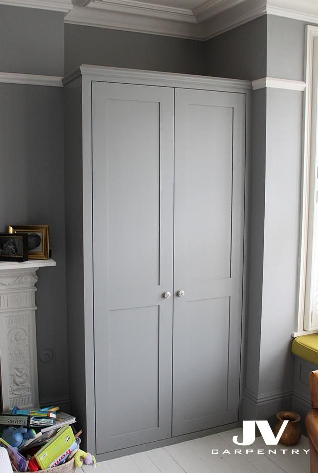 Grey Alcove Wardrobe With Shaker Doors And Original