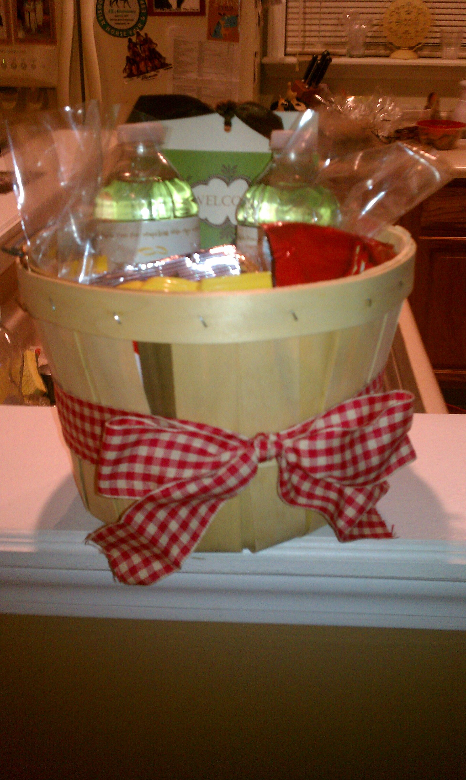 Hotel Room gift basket for overnight wedding guests