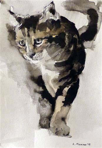 Katya Minkina Ft Catwatercolor Illustration De Chat Animaux D