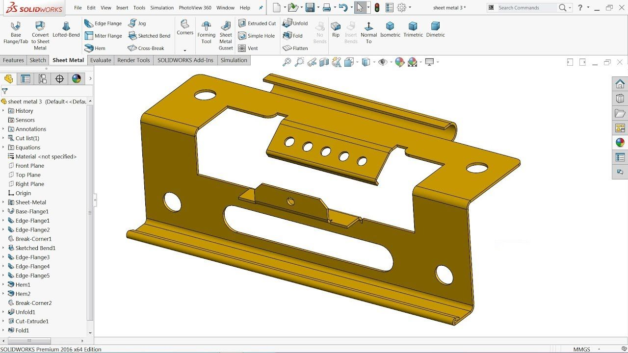 Solidworks Sheet Metal Tutorial Exercise Youtube