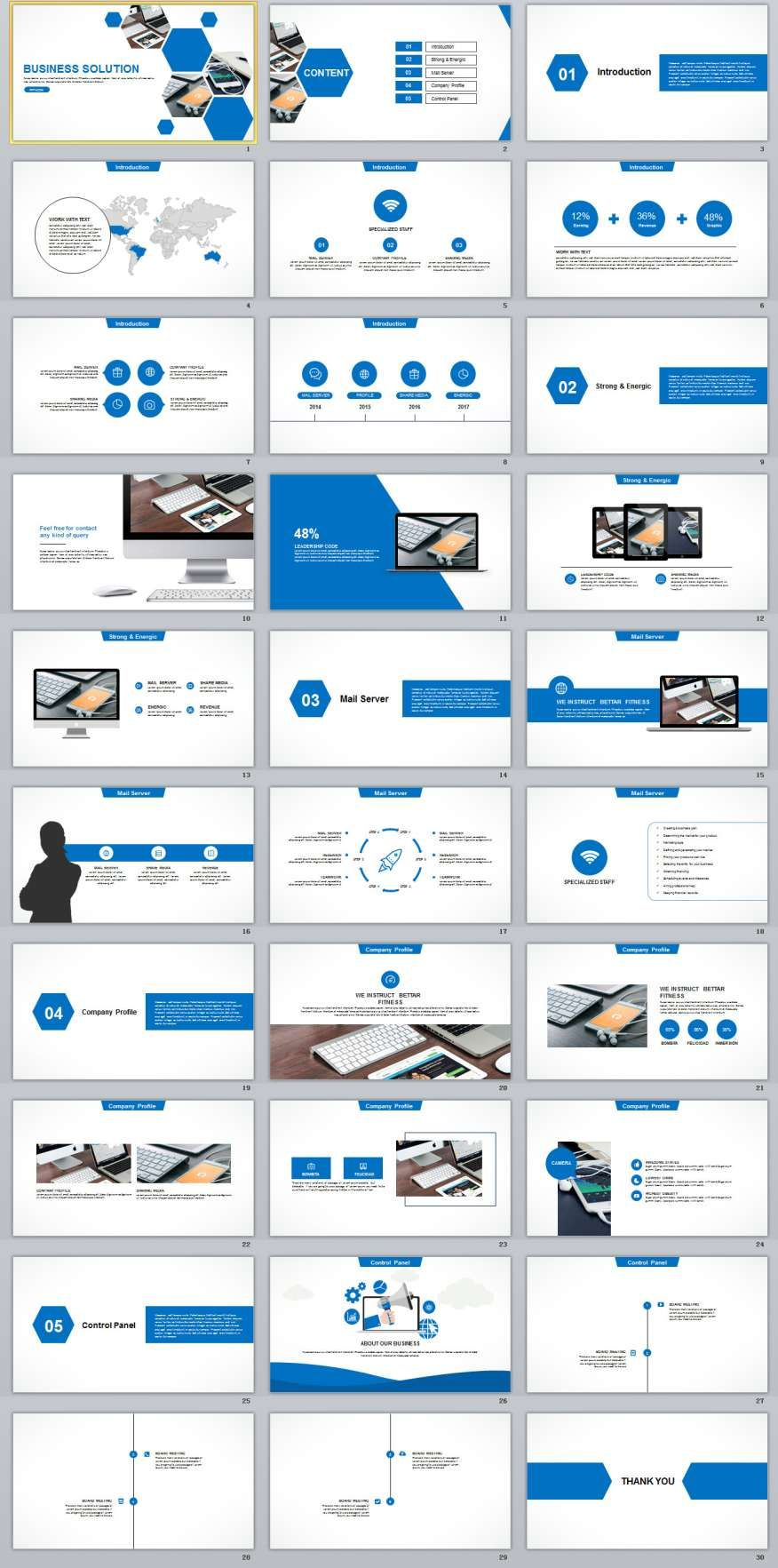 30 Blue Business Solution Powerpoint Templates Best Powerpoint