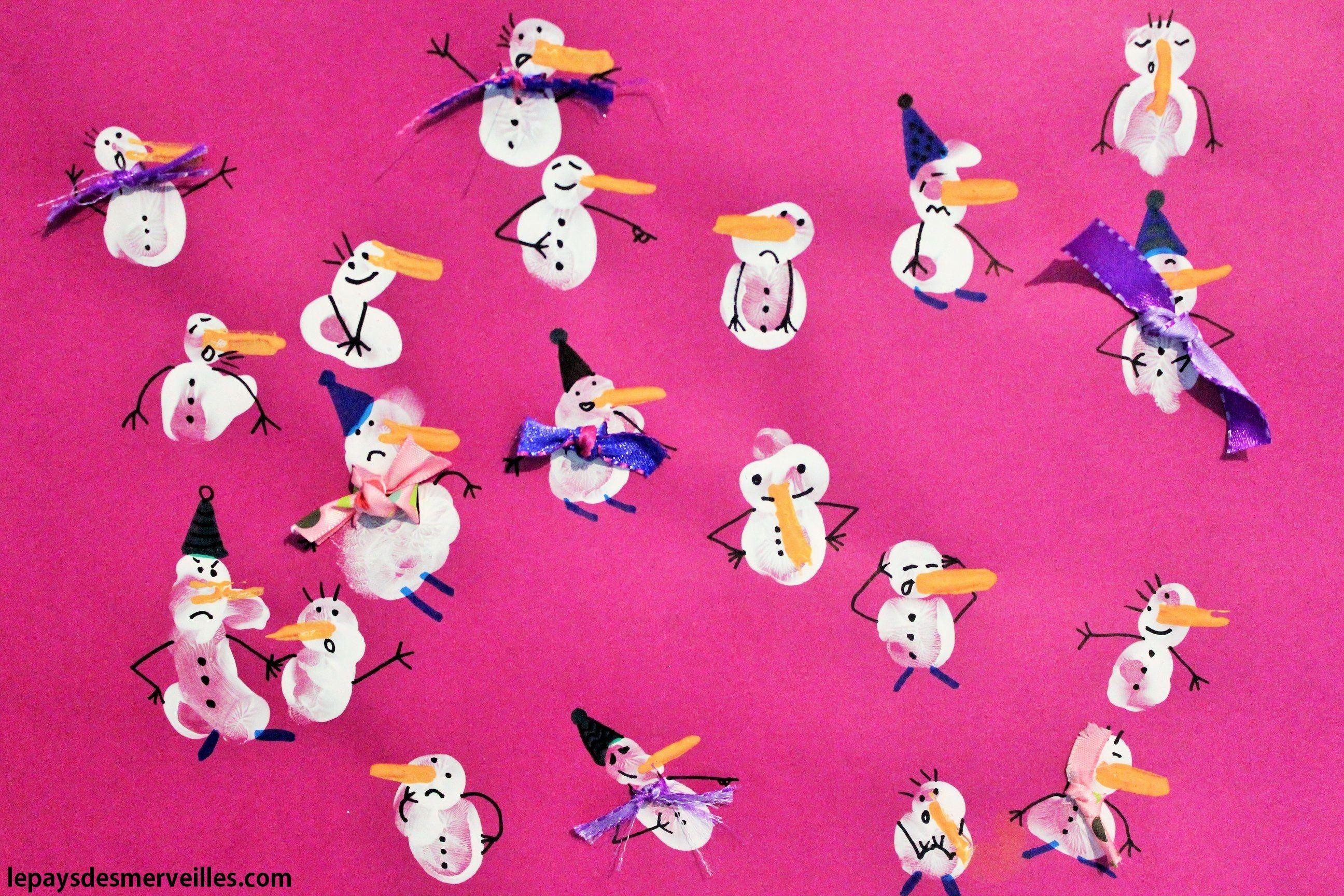 Activité Manuelle Noël concernant activité manuelle noel empreintes de doigts bonhomme de neige