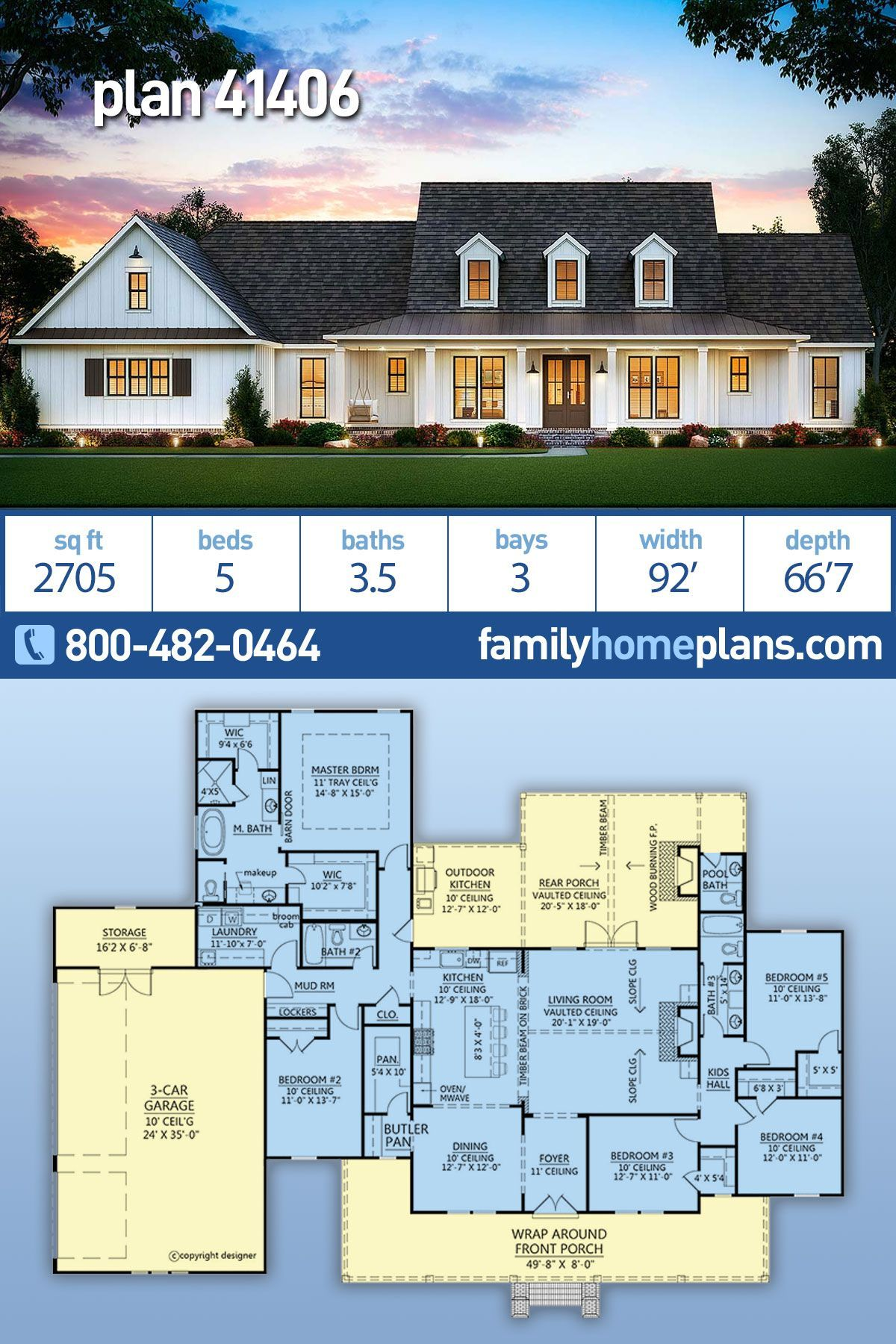 Traditional Style House Plan 73140 With 3 Bed 2 Bath 3 Car Garage Ranch House Plans Ranch Style House Plans House Plans One Story