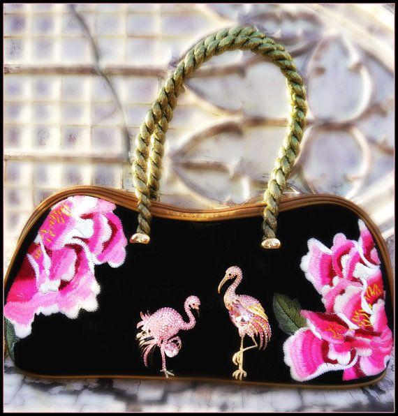 (vu) Pink Flamingo Velvet Embroidered Purse, handbag,Swarovski Crystal, gold OOAK, glamping, black velvet Ladies Accessories, novelty purse