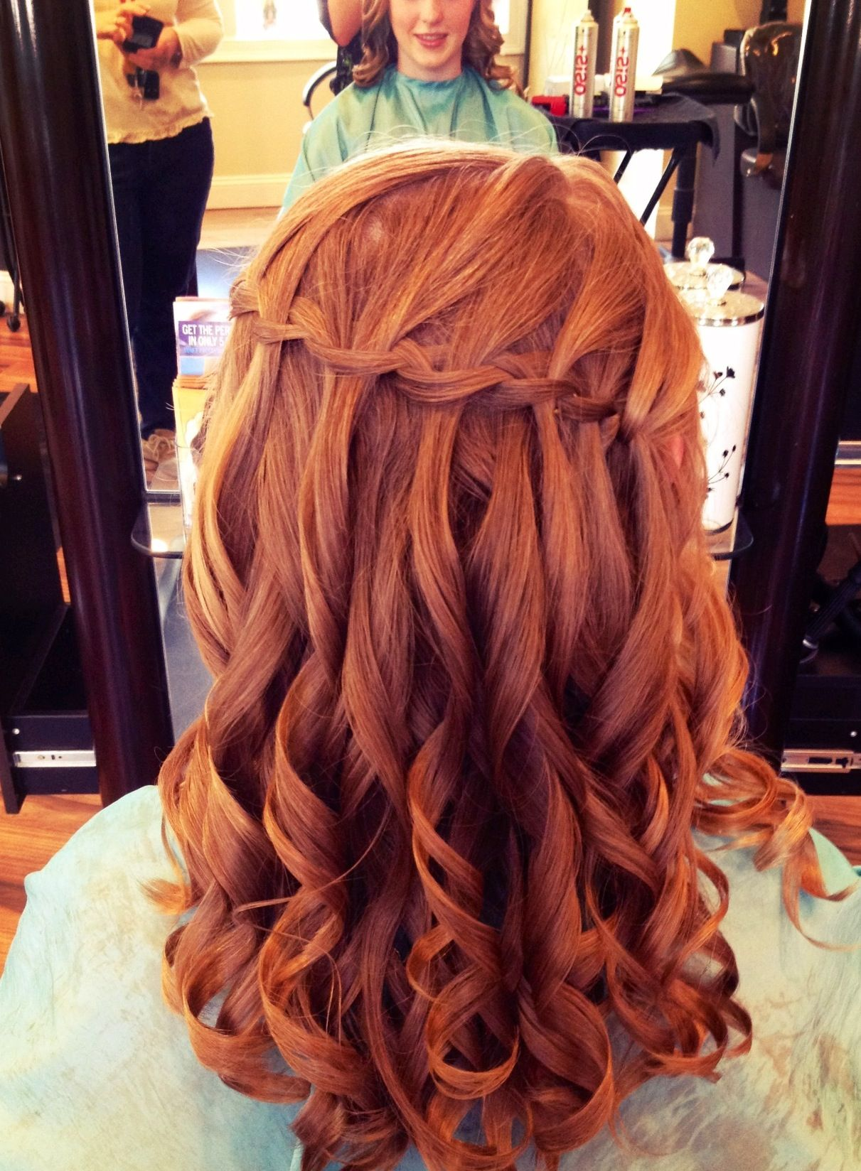 Waterfall braid with curls prom updo hair dous i want pinterest