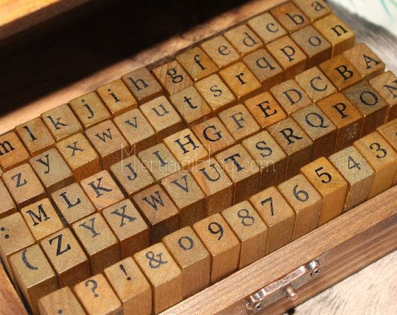 Mini Wooden Rubber Stamp Alphabet Letters Numbers A-Z 42 Blocks Card Making