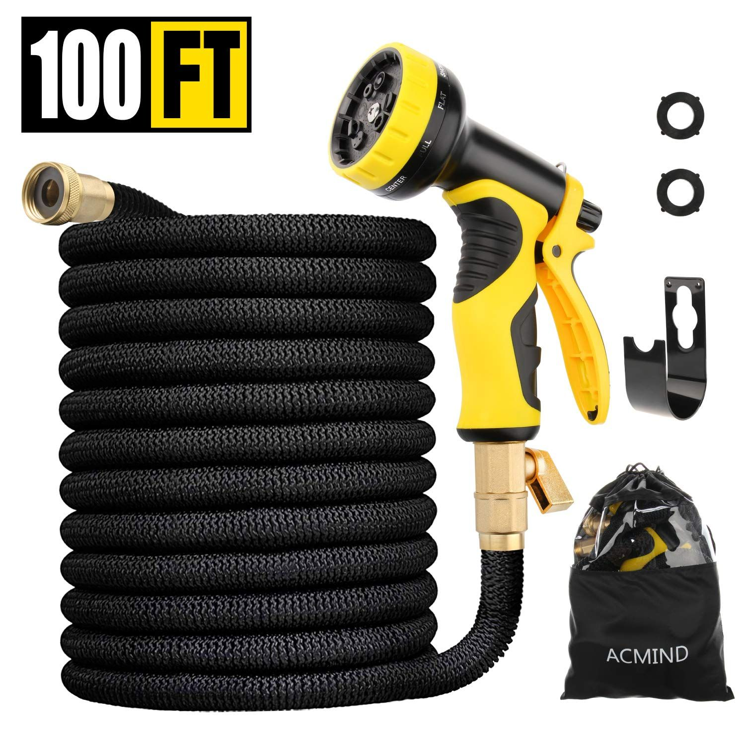 Acmind 100ft Expandable Garden H Flat Hose Garden Hose Brass Fittings