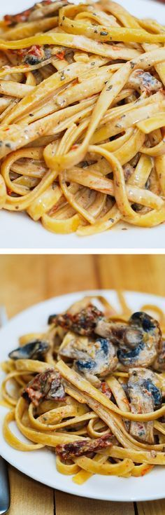 dried tomato and mushroom pasta in a garlic and basil sauce - delicious and easy to make dinner! @juliasalbum
