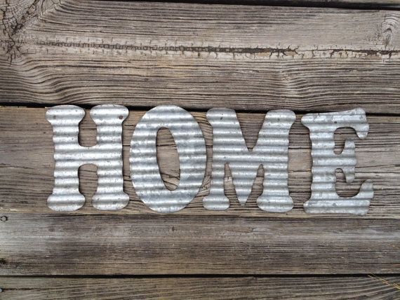 Galvanized Metal Letters Home Wall Decor Kitchen Living Room Decoration Corrugated Steel Letter Primitive Sign Accessory