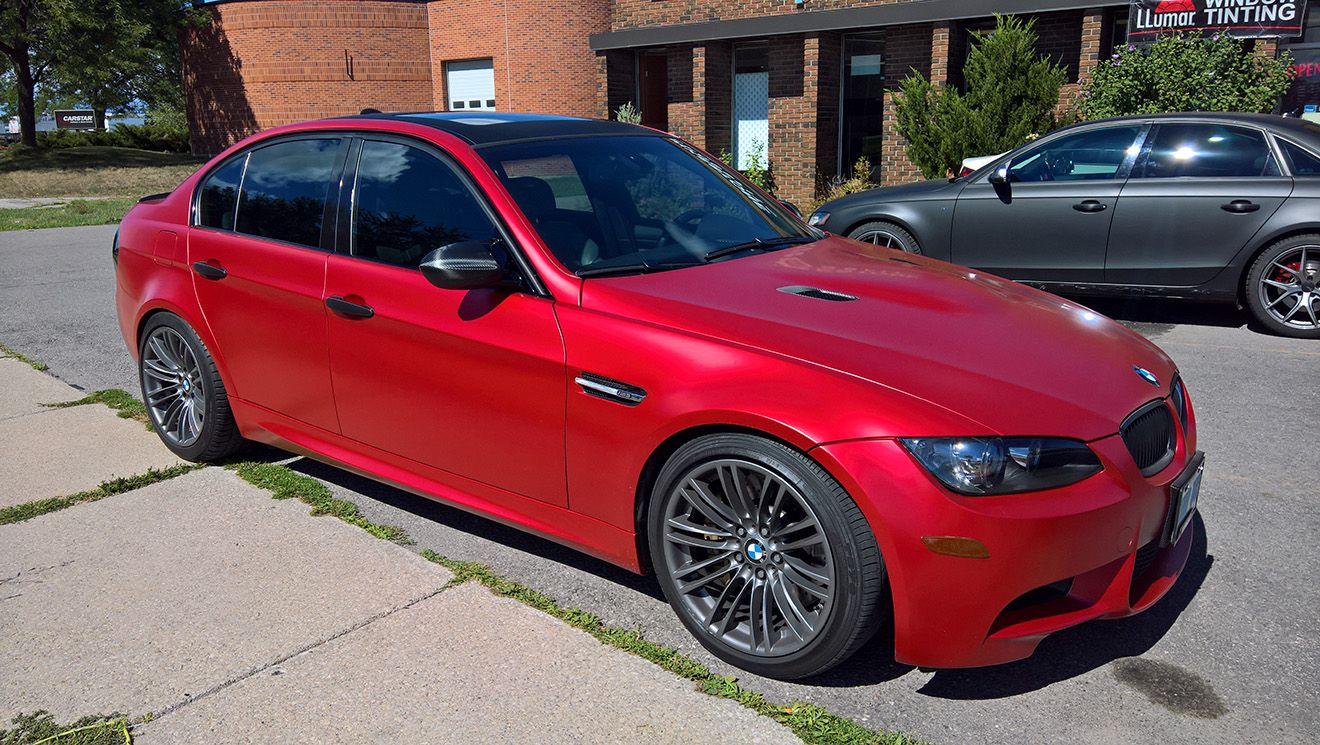 BMW M3 Satin Smoldering Red Car wrap, Color change, Bmw m3