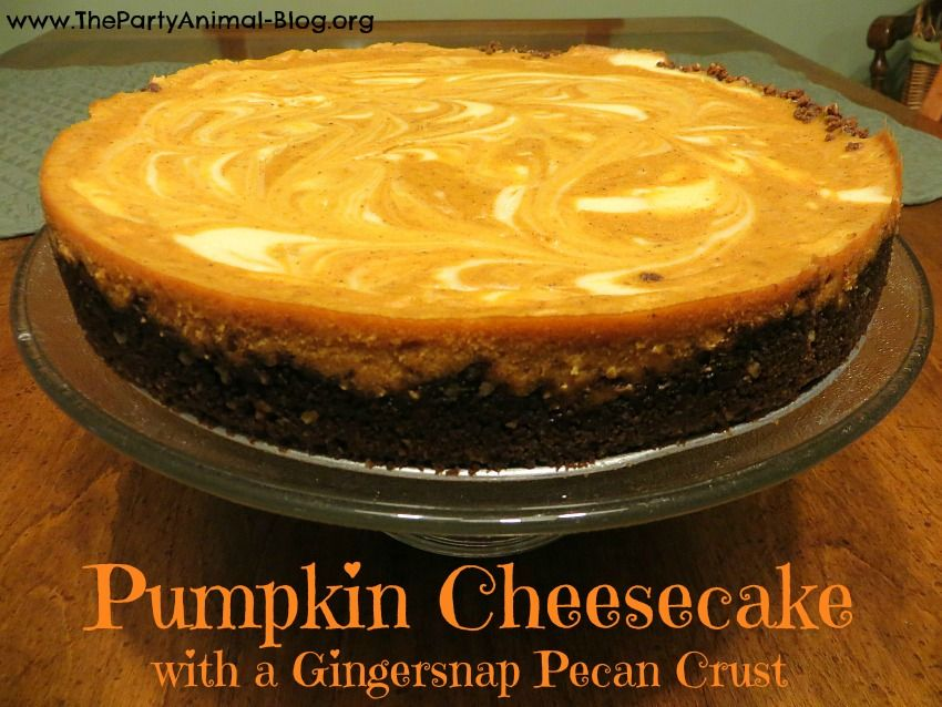 Here is a tasty sweet treat to bake up for the fall and those who love a good Cheesecake and Pumpkin Flavor. This Pumpkin Cheesecake with a Gingersnap Pecan Crust is absolutely delicious.