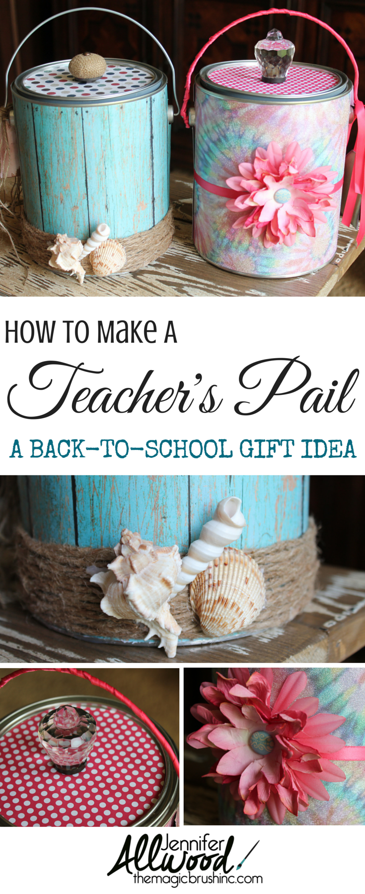 "Ideas : An Easy DIY Back-to-school Teacher's gift! Every year I make my elementary school teachers a ""paint pail"".  We also refer to it in our house as a ""brown nosing bucket"".  More projects at theMagicBrushinc.com"
