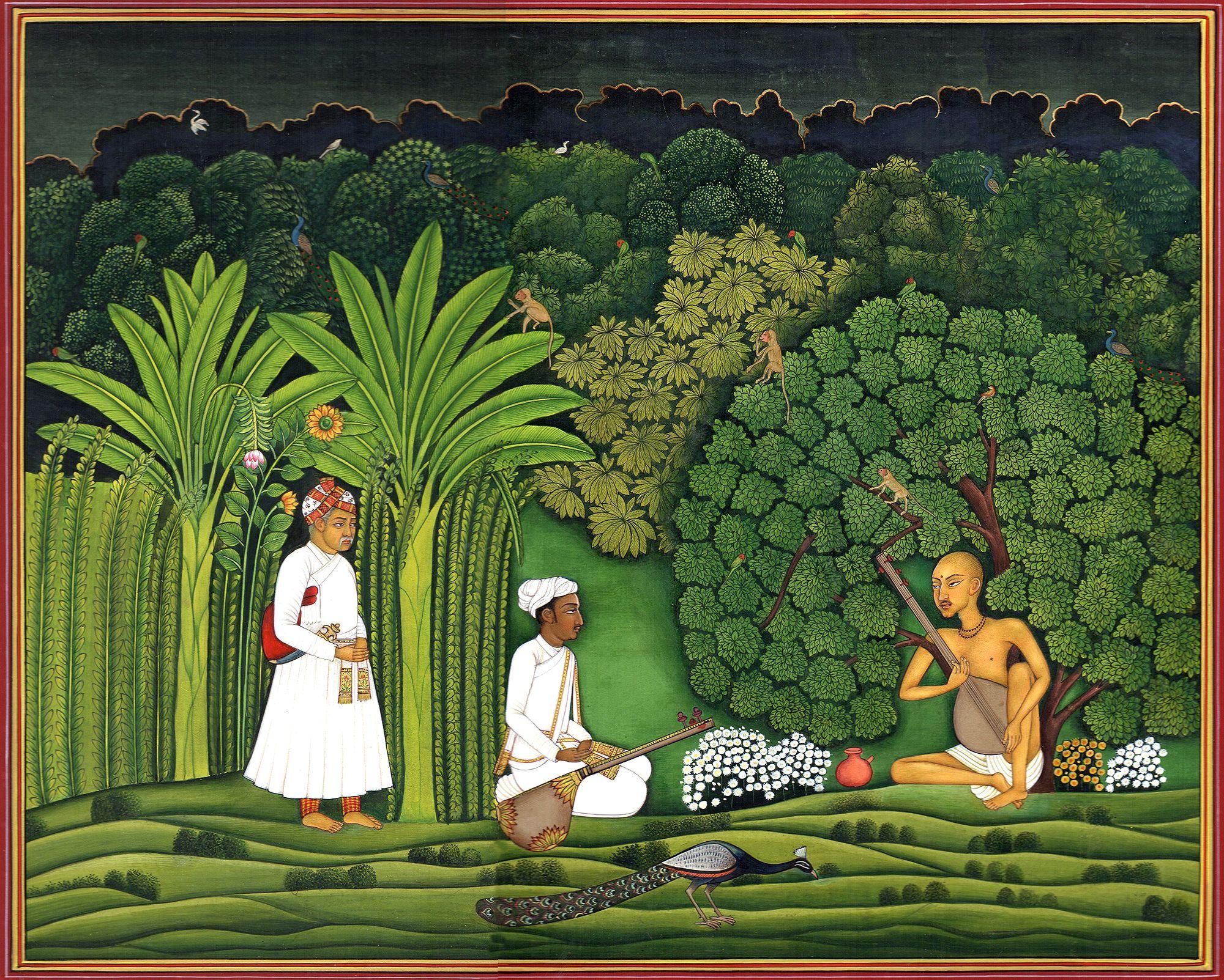 Akbar And Tansen Visit Haridas Mughal Paintings Mughal