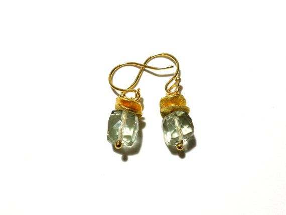 Green Quartz and Gold Earrings  Green Crystal by StaggsLane