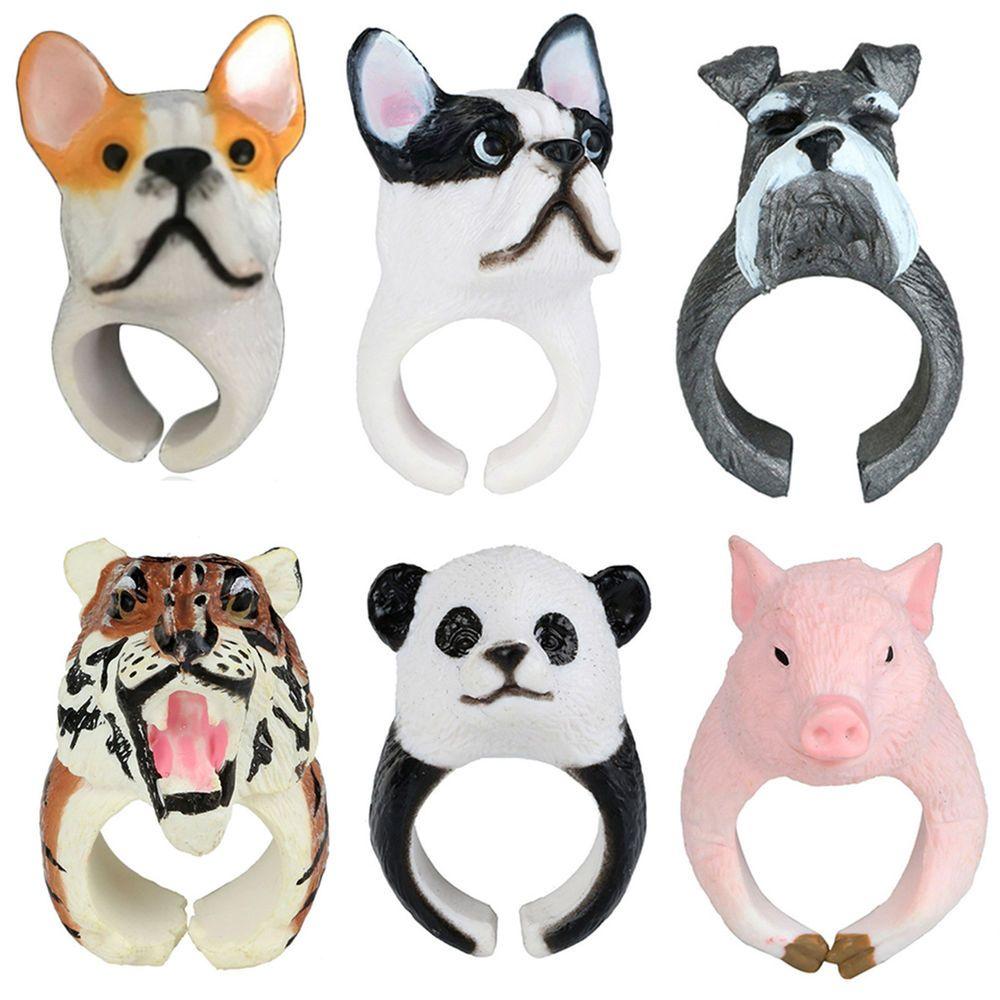 Cute 3D Animals Finger Ring Panda Monkey Pig Cat Frog Band