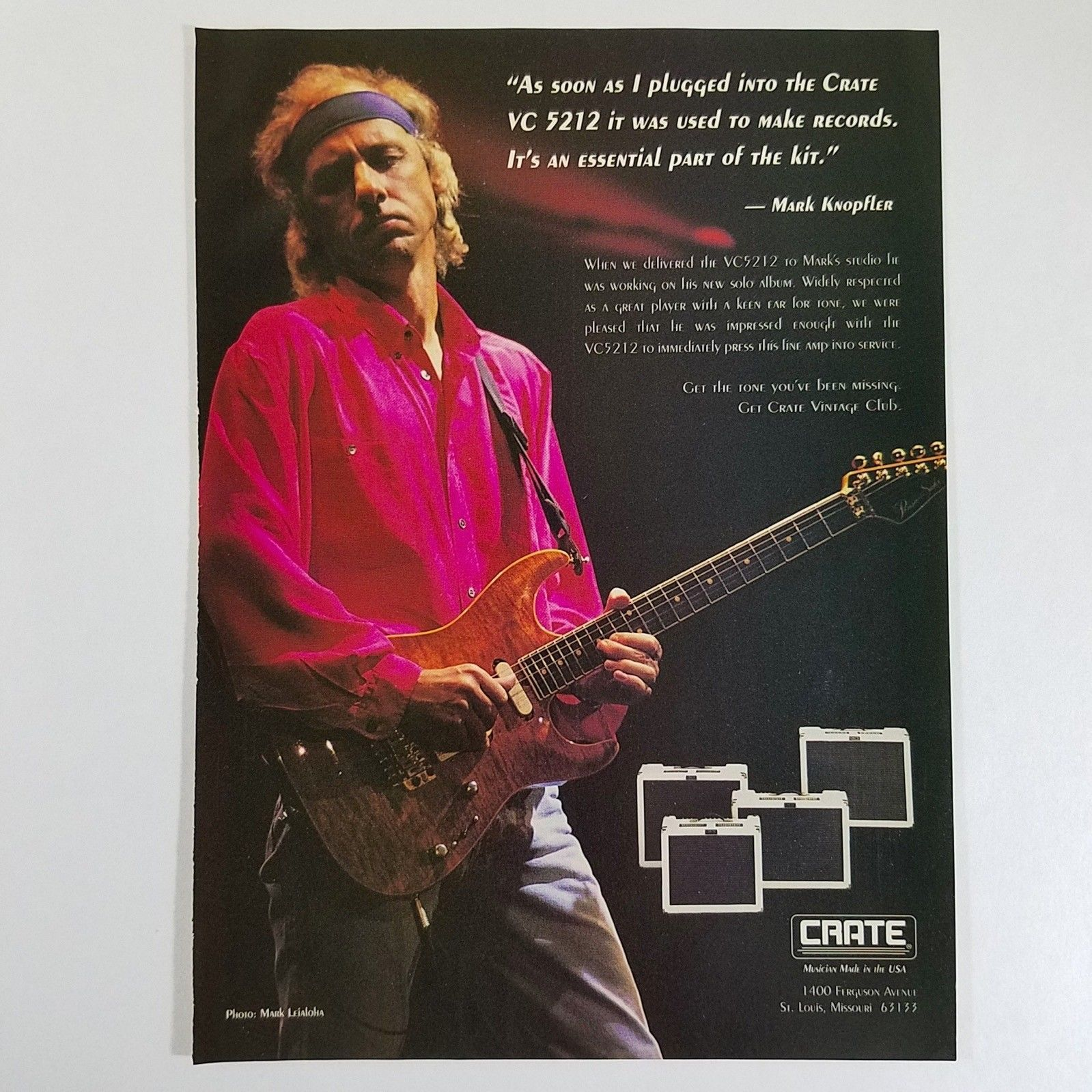 1996 Mark Knopfler Crate Amp Vc5212 Print Ad Mark Knopfler Dire Straits Fender American Special