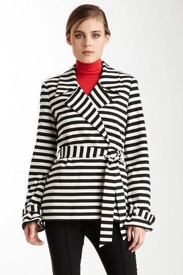 Striped Belted Jacket