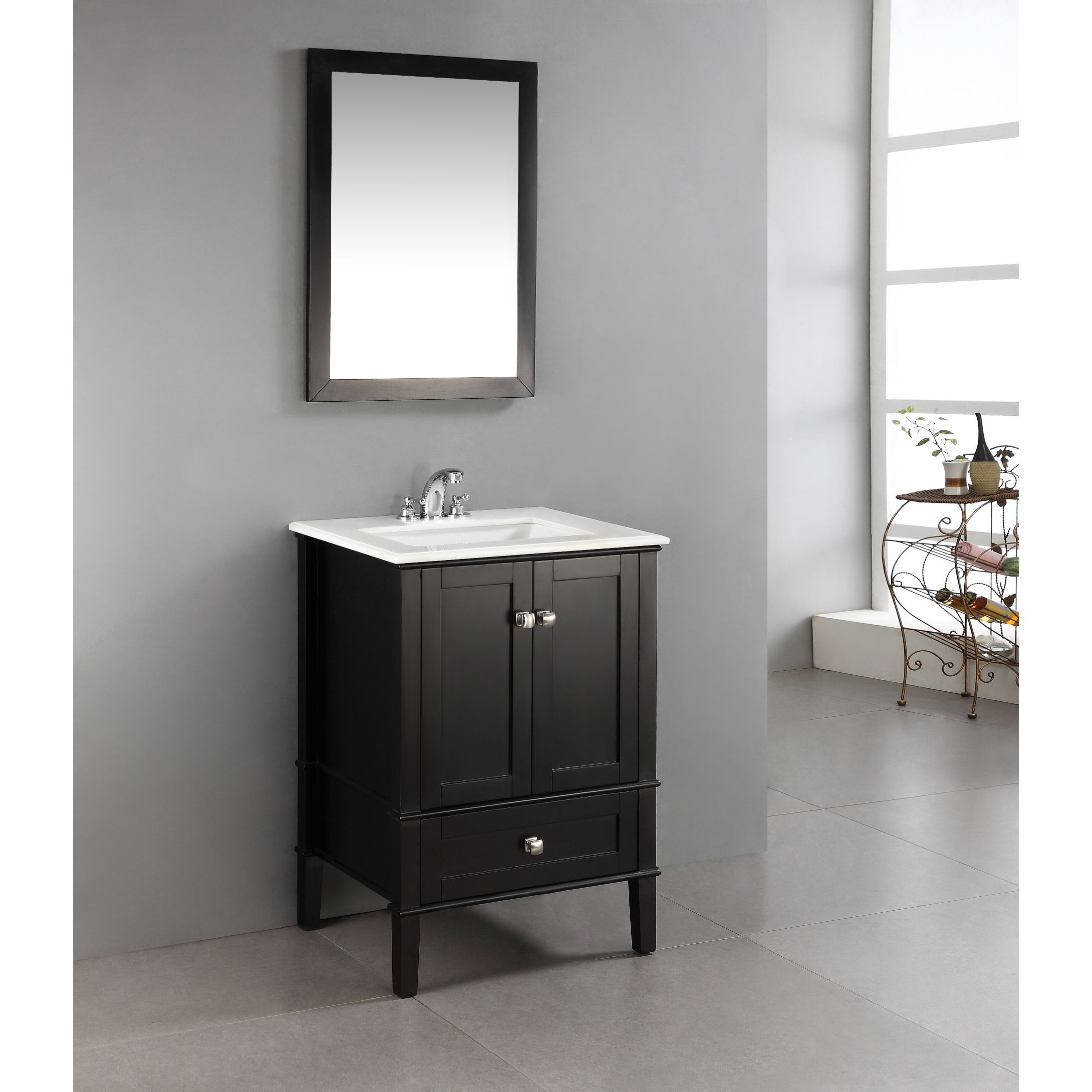 Wyndenhall Windham 24 Inch Contemporary Bath Vanity In Black With